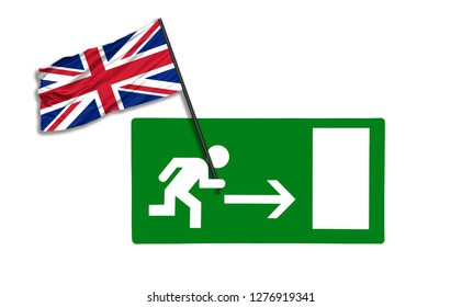 Brexit concept photo made with United Kingdom flag and emergency exit sign. 3D Illustration