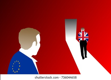 A brexit concept shown by two men wearing flags of the European Union (EU) and the United Kingdom (UK) with the UK man exiting the door and leaving EU man behind. The background is gradient red.