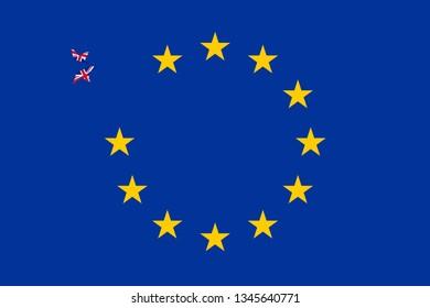 Brexit concept star breaking apart from european flag illustration