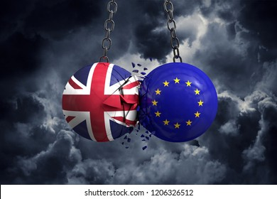 Brexit concept. Union Jack and European union political balls smash into each other. 3D Rendering
