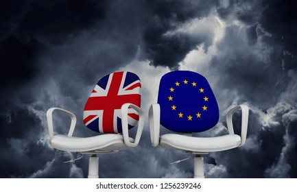 Brexit concept. Union Jack and European union chairs. 3D Rendering