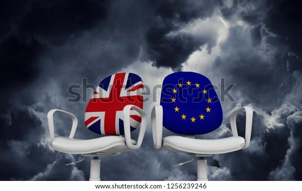 Brexit-Konzept. Union Jack und Vorsitzende der Europäischen Union. 3D-Rendering