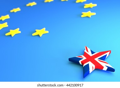 BREXIT - creative 3D illustration for newspaper articles and similar purposes.