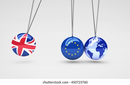 Brexit effect and global business consequences concept with Union Jack, EU flag on balls and world map globe 3D illustration.