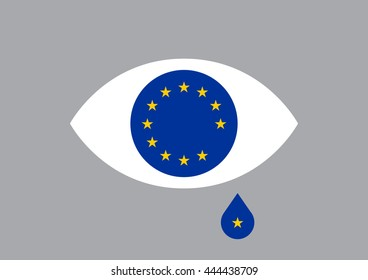 Brexit from EU after referendum. A star is falling inside a teardrop from the European Union flag inside an eye representing UK leaving.