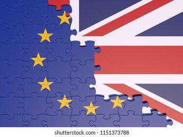 Brexit, Flags Of The United Kingdom And The European Union made of puzzle. 3D Rendering.