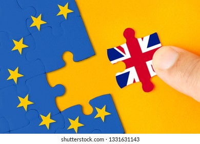 Brexit, Flags of the United Kingdom and the European Union on puzzle