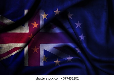 Brexit: Flags of the United Kingdom and the European Union to illustrate possible exit of Great Britain from the EU