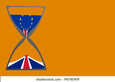 """Brexit "" illustrated by hourglass with British (United Kingdom, UK) flag pouring to the bottom chamber and European Union (EU) flag on the top chamber. Object on the left and background is orange."