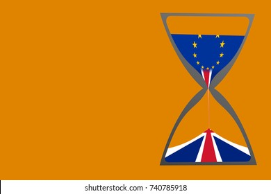 """Brexit "" illustrated by hourglass with British (United Kingdom, UK) flag pouring to the bottom chamber and European Union (EU) flag on the top chamber. Object on the right and background is orange."