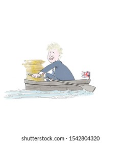 Brexit. Illustration of English minister in a rowing boat with a shredded flag and a money stack.