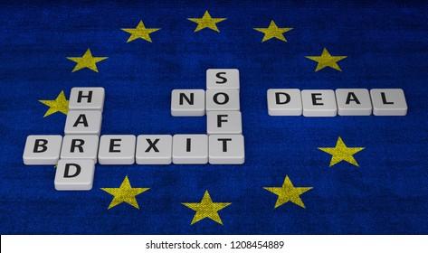 brexit letters on flag - concept gambling 3D Illustration