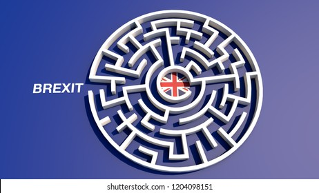 Brexit maze. Artistic concept about leaving UK as a labyrinth. 3D Rendering.