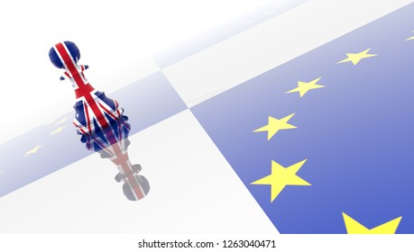 brexit pawn chess great britain european union - 3d rendering