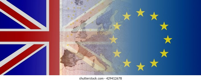 Brexit - Proposed referendum on United Kingdom membership of the European Union  The flags of Britain and Europe have the contours of Europe to shine through.