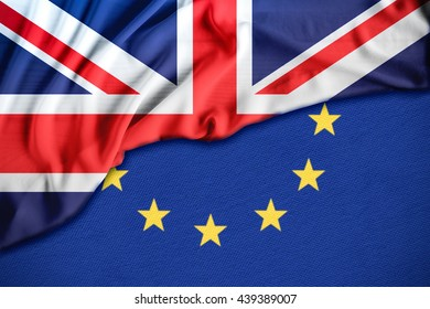 Brexit referendum UK (United Kingdom or Great Britain or England) withdrawal from EU (European Union), British vote leave. The flag of UK & EU Symbolic that represent a lot of concept design to Brexit