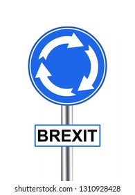 Brexit road sign roundabout. UK EU politics re leave the European Union. Isolated on white.