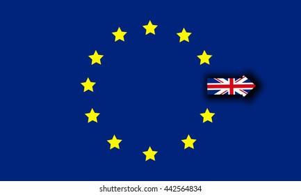 Brexit star OUT OFF EU flag , Brexit UK EU referendum concept