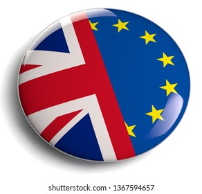 Brexit Symbol British UK and EU Flags Button Badge