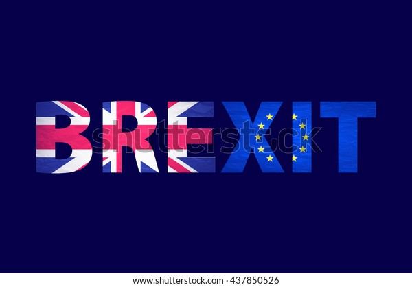 Brexit Text Isolated. United Kingdom exit from europe relative image. Brexit named politic process. Referendum theme art