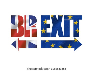 Brexit typo with flags of EU and GB in the background with and without shadow