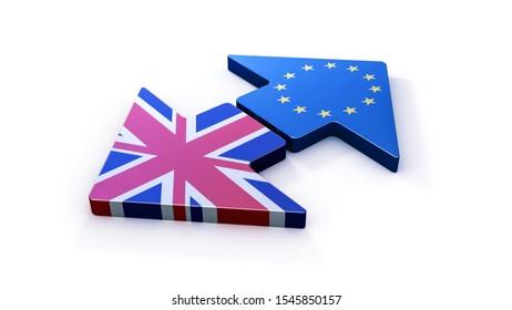 Brexit. UK leaving European Union. 3d illustration
