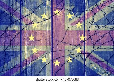 Brexit - United Kingdom flag, EU flag, cracks and euros