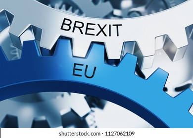 BREXIT vs EU on Metal Cog Gears. Communication Concept. 3d Rendering