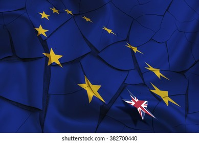 Brexit : Wavy flag of European Union on a cracked paint wall with flag of UK floating above. A symbol of leaving after the crucial referendum that could be thrown into disarray over impartiality rules