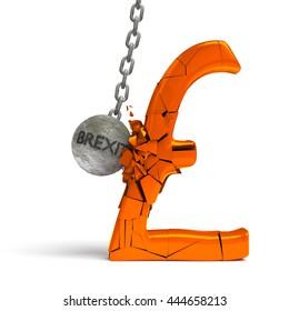 'brexit' wrecking ball destroying a huge golden pound sign (3d illustration)