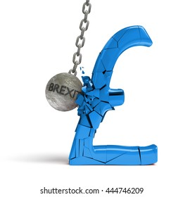 'brexit' wrecking ball destroying a huge shiny blue pound sign (3d illustration)