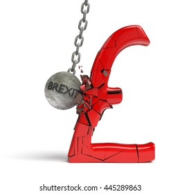 'brexit' wrecking ball destroying a huge shiny red pound sign (3d illustration)