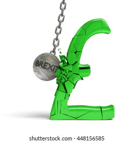 'brexit' wrecking ball destroying a huge shiny green pound sign (3d illustration)