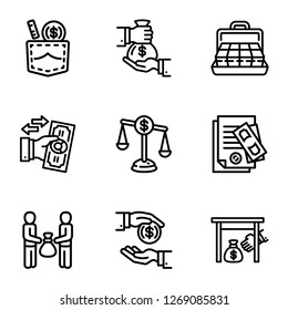 Bribery business money icon set. Outline set of 9 bribery business money icons for web design isolated on white background