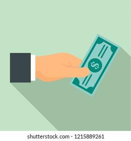 Bribery give money icon. Flat illustration of bribery give money icon for web design