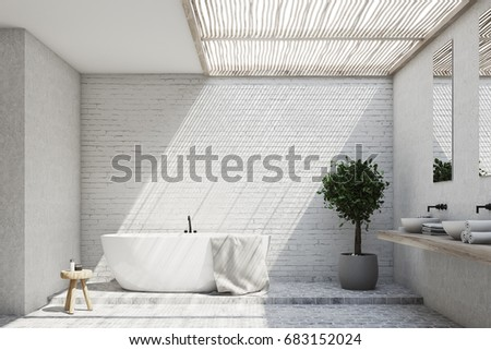 Brick Bathroom Interior With A Tub, A Double Sink, A Tree In A Pot