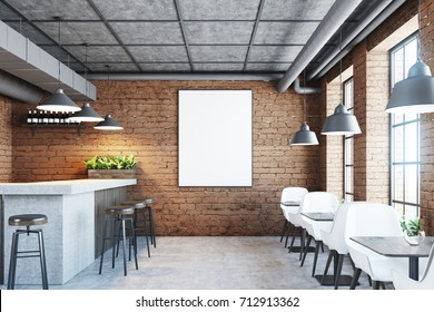 Brick cafe and bar interior with a concrete floor, a marble and wooden bar stand, black chairs and wooden tables. Poster on the wall. 3d rendering mock up