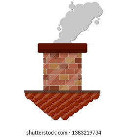 Brick chimney of house with gray smoke. Tiled brown roof. Top of the building with an air duct. Cartoon flat illustration