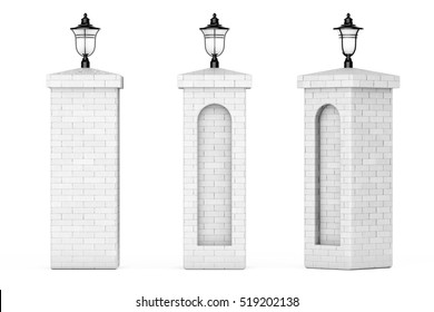 Brick Columns with Street Lamps on a white background. 3d Rendering