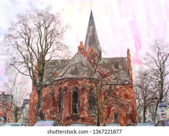 Brick stone church in Baltic sea town Warnemunde in Germany. Water color illustration