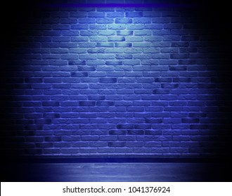 Brick wall, background, blue neon light