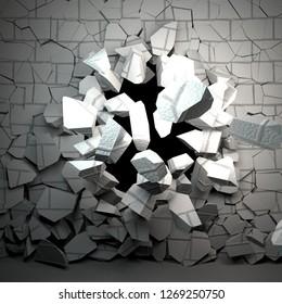 Brick wall breaking in ruins, 3d rendering