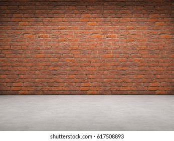 Brick wall and concrete floor room