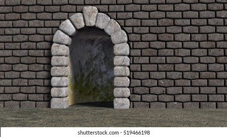 Brick wall with cyclopean boulder arch and bent corridor darkly lit and moldy. 3d render.