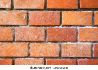 Brick wall digital illustration. Orange brickwork closeup. Rustic brick masonry. Orange brick paving. Modern countryside building. Simple house wall texture. Brickwork surface