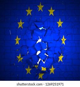 Brick wall with EU flag breaking in ruins, 3d rendering