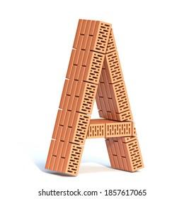 Brick wall font Letter A 3D