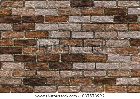 Brick Wall In Interior In Loft Style. Abstract Background  Nature Pattern.  Clinker Brick