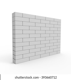 Brick Wall isolated on white background. High quality 3d render.