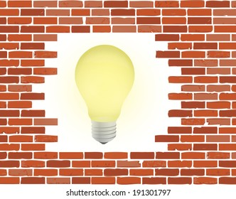 brick wall and light bulb illustration design over a white background